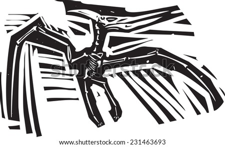 Woodcut style image of a fossil of a pterodactyl dinosaur - stock vector