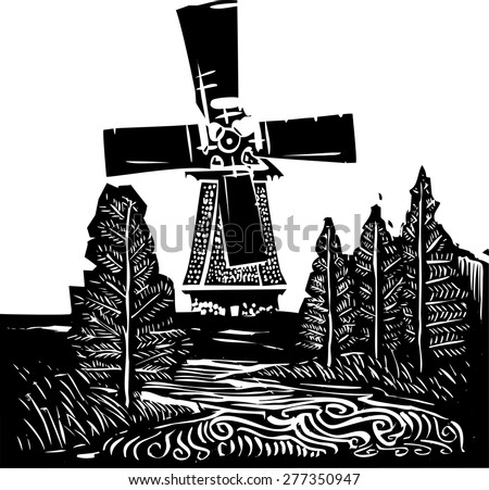 Woodcut style image of a old style dutch windmill in a rural landscape. - stock vector