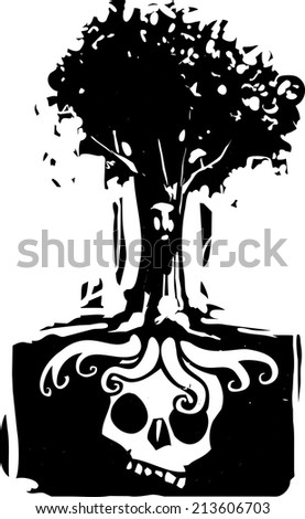 Woodcut style image of a tree with a face where roots grow around a buried giant skull - stock vector