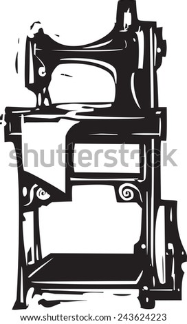Woodcut style image of a vintage singer treadle sewing machine - stock vector
