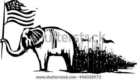 Woodcut Style image of an Elephant waving an American flag leading an army - stock vector