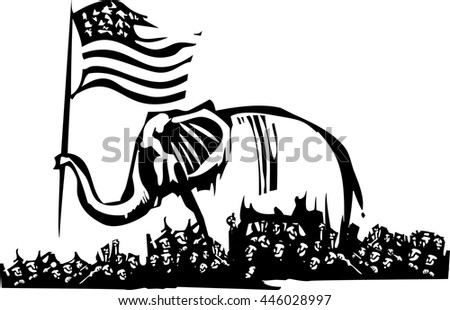 Woodcut Style image of an Elephant waving an American flag surrounded by a crowd of refugees. - stock vector