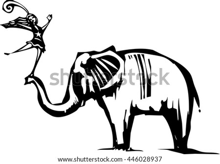 Woodcut Style image of an Elephant with a circus acrobat - stock vector