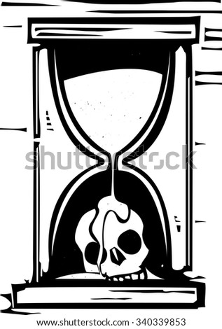 Woodcut style image of an hour glass with the sand running over a skull - stock vector