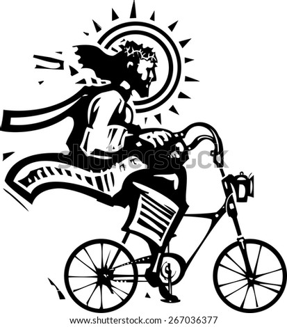 Woodcut Style image of Jesus Christ riding a fixie bicycle - stock vector