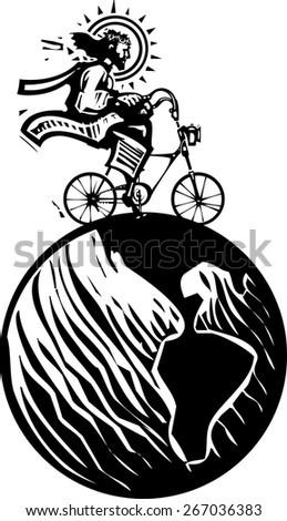 Woodcut Style image of Jesus Christ riding a fixie bicycle traveling the world - stock vector