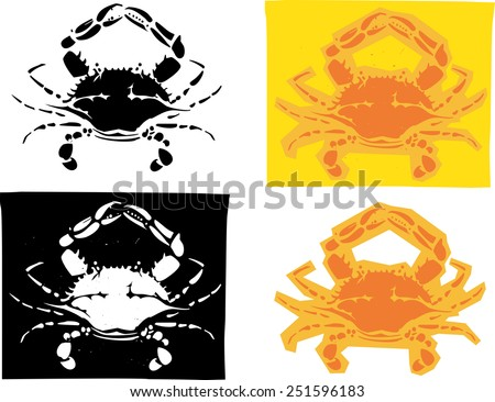 Woodcut style image of Maryland Atlantic blue crabs in different versions. - stock vector