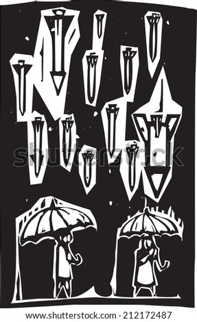 Woodcut style image of missiles raining down from a stormy sky over people with umbrellas - stock vector
