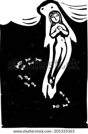 Woodcut style image of the Celtic mythical selkie in the ocean. - stock vector