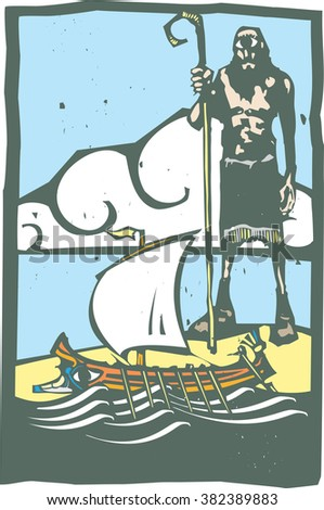 Woodcut style image of the Greek Mythological cyclopes Polyphemus looking at a Grecian galley. - stock vector