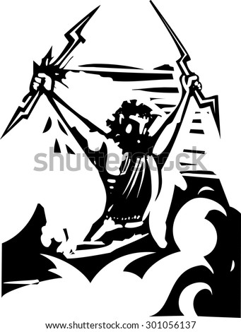 Woodcut style image of the Greek Olympian God Zeus  - stock vector