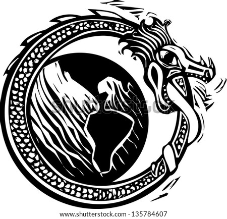 Woodcut style image of the viking Norse midgard serpent circling the earth - stock vector
