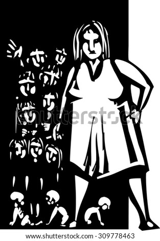 Woodcut style Large woman with cigarette at the door to a home with lots of children - stock vector