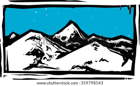Woodcut style mountain range on a clear blue day - stock vector
