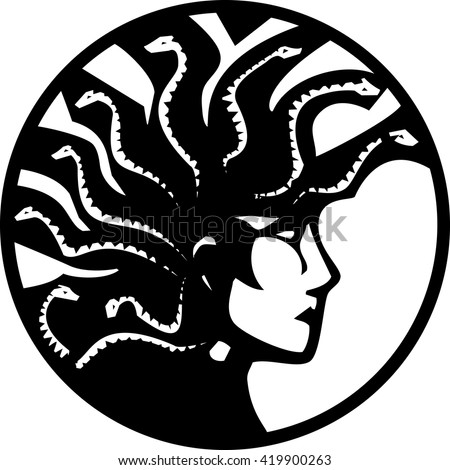 Woodcut style mythical Greek medusa with a Mohawk on circle - stock vector