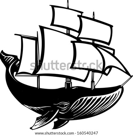 Woodcut style sail propelled baleen whale. - stock vector