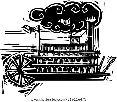 Woodcut style side wheel Mississippi river steamboat. - stock vector