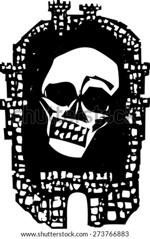 Woodcut style walled Medieval city with a plague skull - stock vector