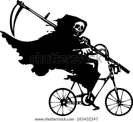 Woodcut styled image of death as the Grim reaper riding a bicycle. - stock vector