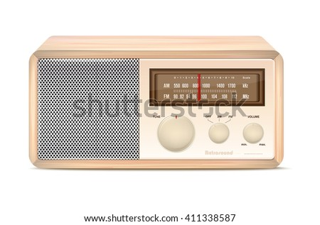 Wooden abstract vintage radio on white background - vector illustration - stock vector