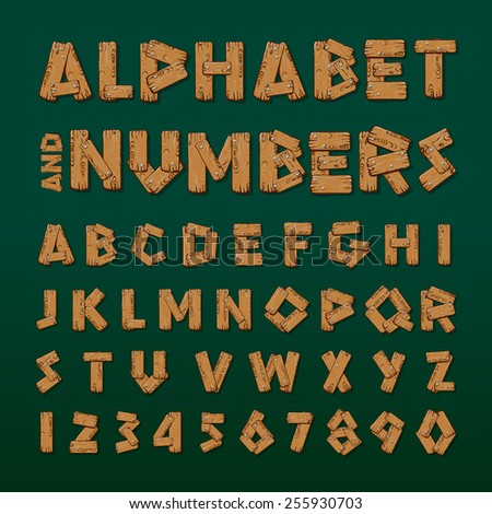 Wooden alphabet and numbers, vector illustration. - stock vector