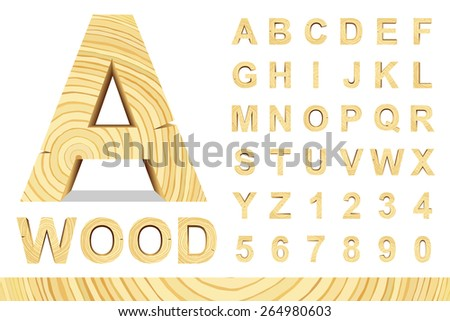 Wooden alphabet blocks with letters and numbers, vector set with all letters, for your text message, title or logos design. Isolated over white.	 - stock vector