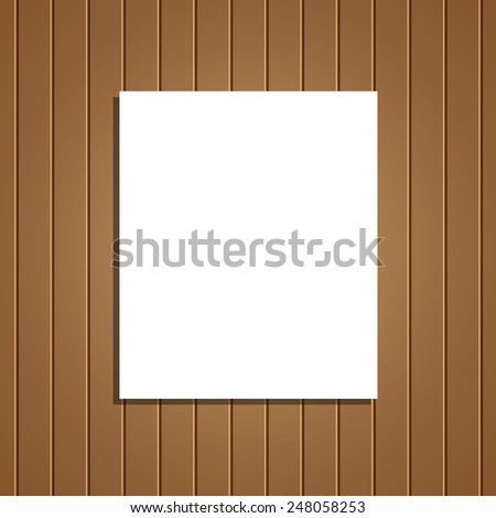 Wooden background, and a sheet of paper. - stock vector