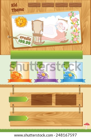 Wooden background for baby template - stock vector