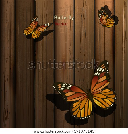 Wooden background with butterflies - stock vector