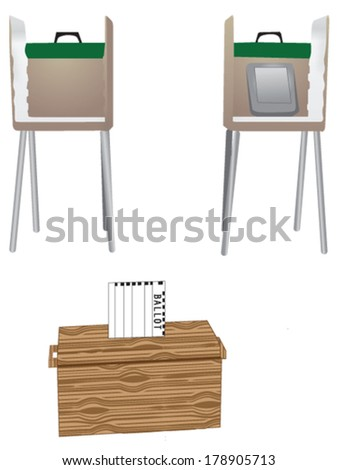 wooden ballot box with traditional and electronic voting booth - stock vector