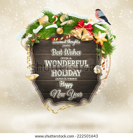 Wooden banner with Christmas Fur-tree branches. EPS 10 vector file included - stock vector