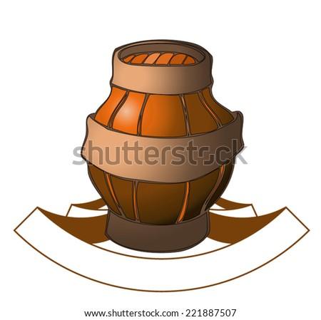 Wooden Barrel - stock vector