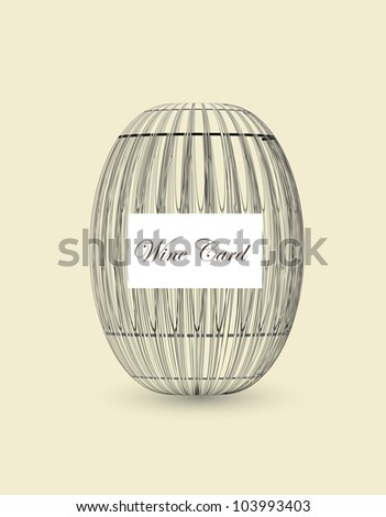 wooden barrel for wine card - stock vector