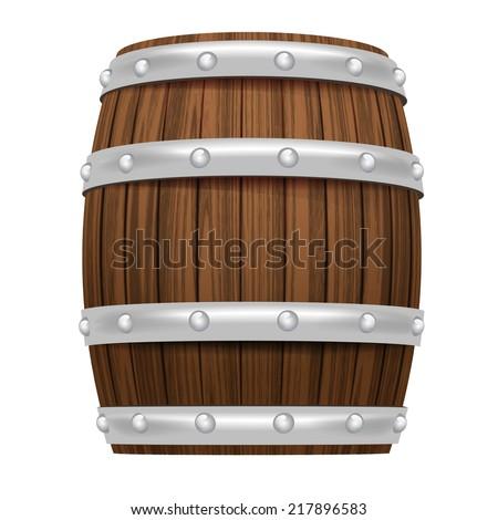 wooden barrel object 3D design isolated on white vector illustration - stock vector