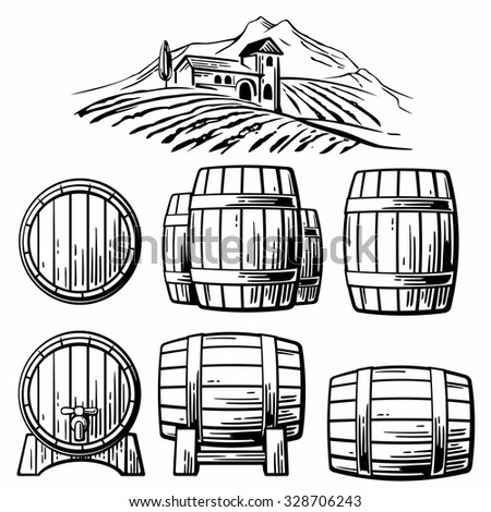 Wooden barrel set and  rural landscape with villa, vineyard fields, hills, mountains. Black and white vintage vector illustration for label, poster, web, icon. - stock vector