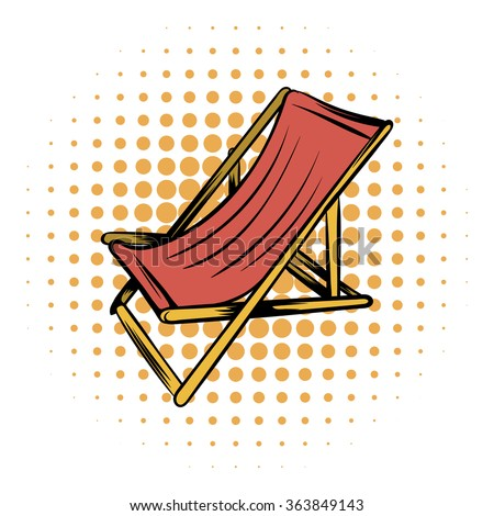 Wooden beach chaise comics icon on a white background - stock vector