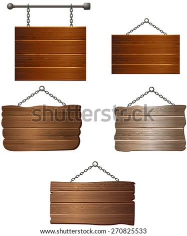 Wooden board collection - stock vector