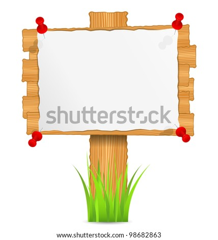 Wooden board with attached paper, vector eps10 illustration - stock vector