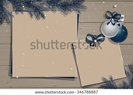 Wooden board with christmas decorations: balls, ribbons and photos or stickers. Christmas pine twigs and spruce branches. Christmas border. Inspiration board. Christmas mockup. Vector, EPS 10. - stock vector