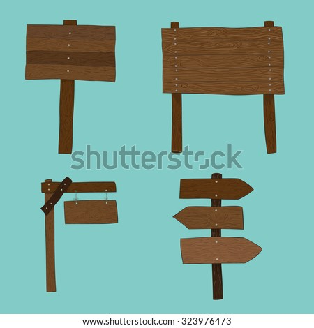 wooden boards label set vector illustration isolated, drawing by hand vector and digital illustration created without reference image. - stock vector