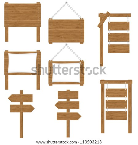 wooden boards signs vector illustration isolated on white background - stock vector