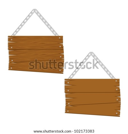 wooden boards with chain for messages, vector illustration - stock vector