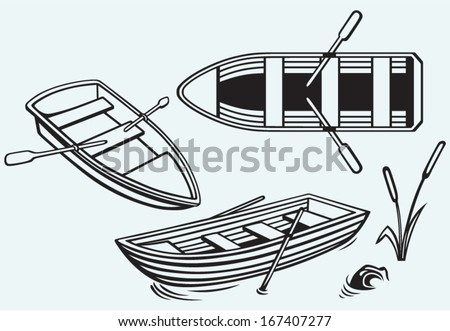 Wooden boat with paddles isolated on blue background - stock vector