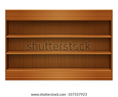 Wooden book Shelf - stock vector