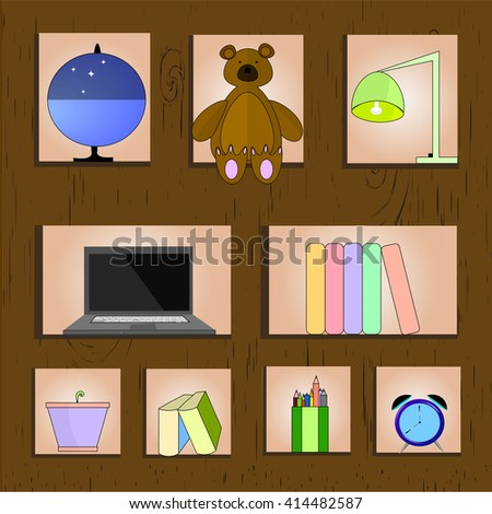 Wooden Bookshelf Vector Illustration. Home Related Stuff Isolated On Wooden Background. Vector object for Labels and Badges, Logos Design. Education Symbol - stock vector - stock vector