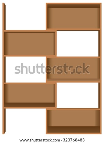 Wooden bookshelves five shelves, pullout. Vector illustration. - stock vector