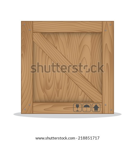 Wooden box and fragile symbol on white background. Vector illustration - stock vector