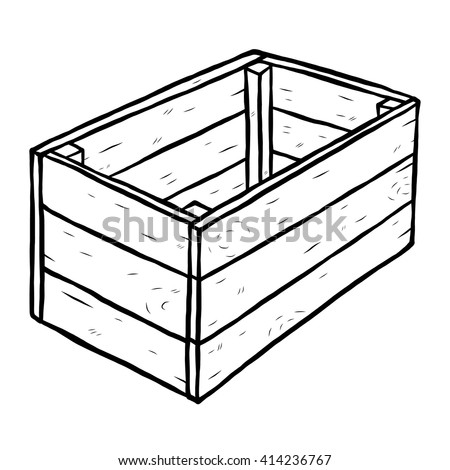 wooden box / cartoon vector and illustration, black and white, hand drawn, sketch style, isolated on white background. - stock vector