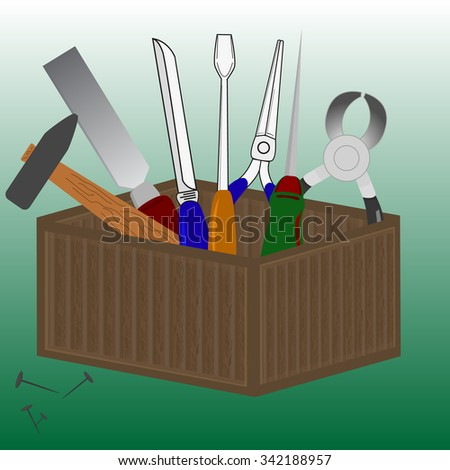 Wooden box with a set of tools. Vector illustration. - stock vector