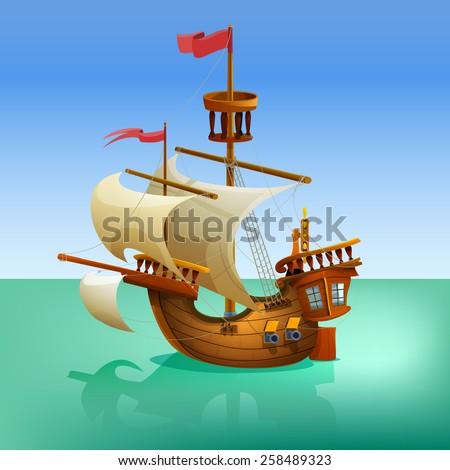 Wooden cartoon ship. Vector illustration. - stock vector